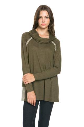 Oversized Turtleneck Pullover Sweater Olive - Sweaters - My Yuccie - 1