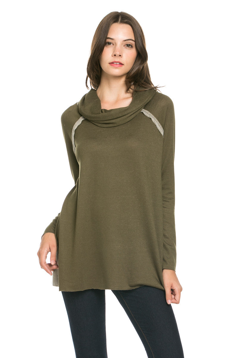 Oversized Turtleneck Pullover Sweater Olive - Sweaters - My Yuccie - 2
