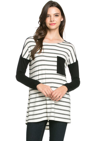 Pockets On Stripes Knit Tunic Top Charcoal Black - Tunic - My Yuccie - 1