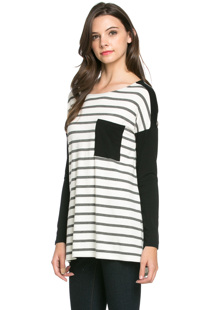 Pockets On Stripes Knit Tunic Top Charcoal Black - Tunic - My Yuccie - 2