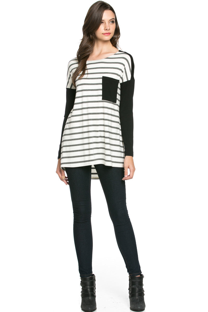 Pockets On Stripes Knit Tunic Top Charcoal Black - Tunic - My Yuccie - 4