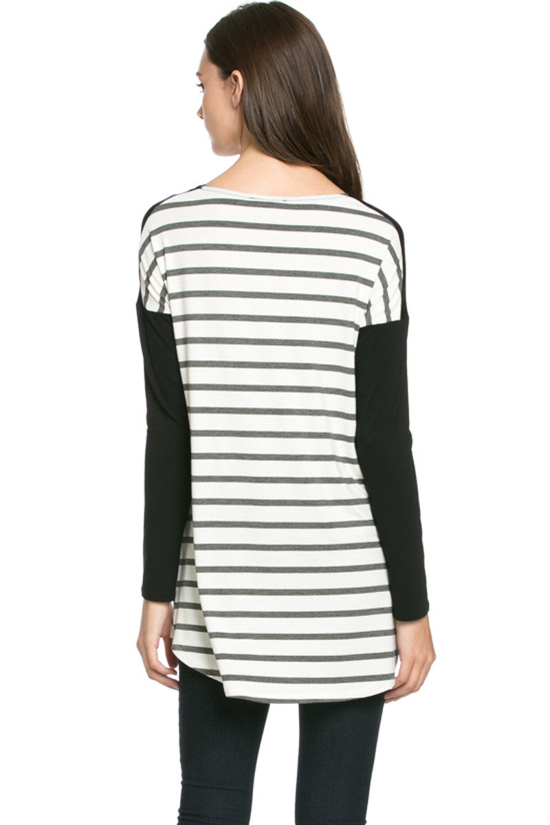 Pockets On Stripes Knit Tunic Top Charcoal Black - Tunic - My Yuccie - 3