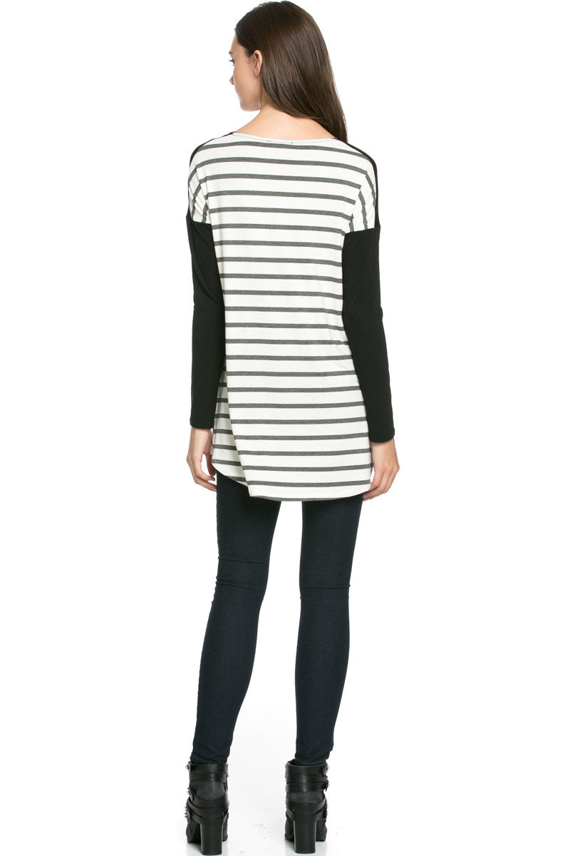Pockets On Stripes Knit Tunic Top Charcoal Black - Tunic - My Yuccie - 5