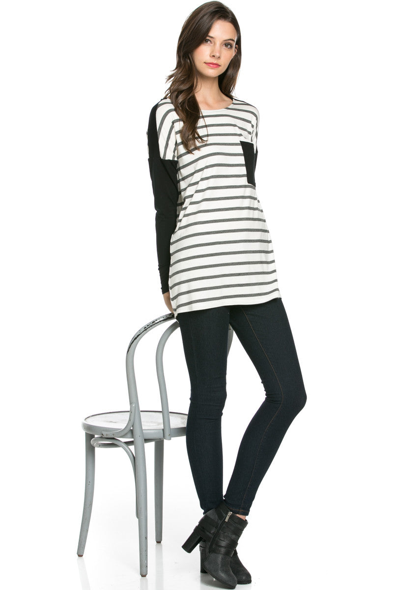 Pockets On Stripes Knit Tunic Top Charcoal Black - Tunic - My Yuccie - 6