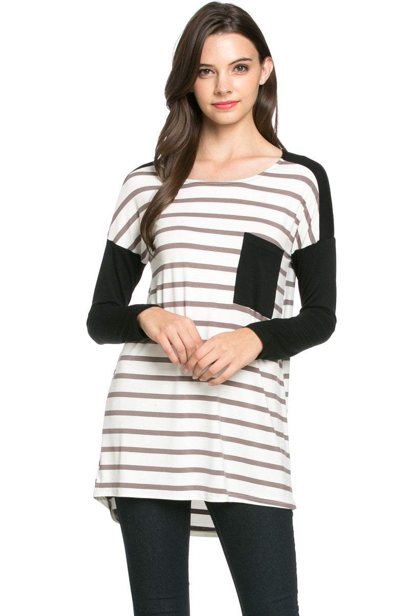 Pockets On Stripes Knit Tunic Top Coco Black - Tunic - My Yuccie - 1