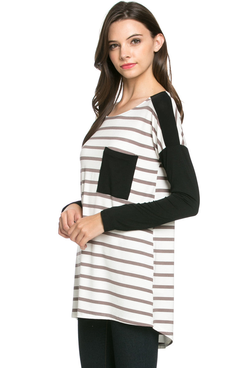 Pockets On Stripes Knit Tunic Top Coco Black - Tunic - My Yuccie - 2