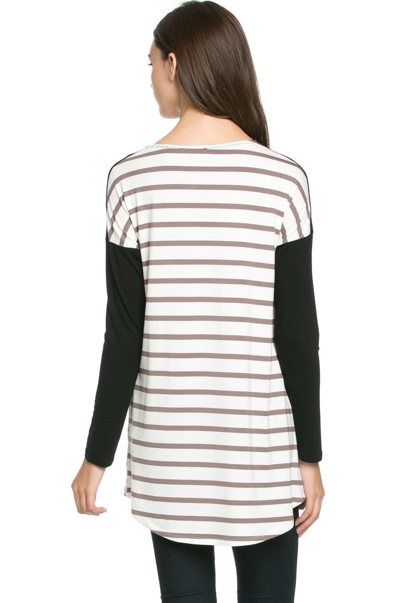 Pockets On Stripes Knit Tunic Top Coco Black - Tunic - My Yuccie - 3