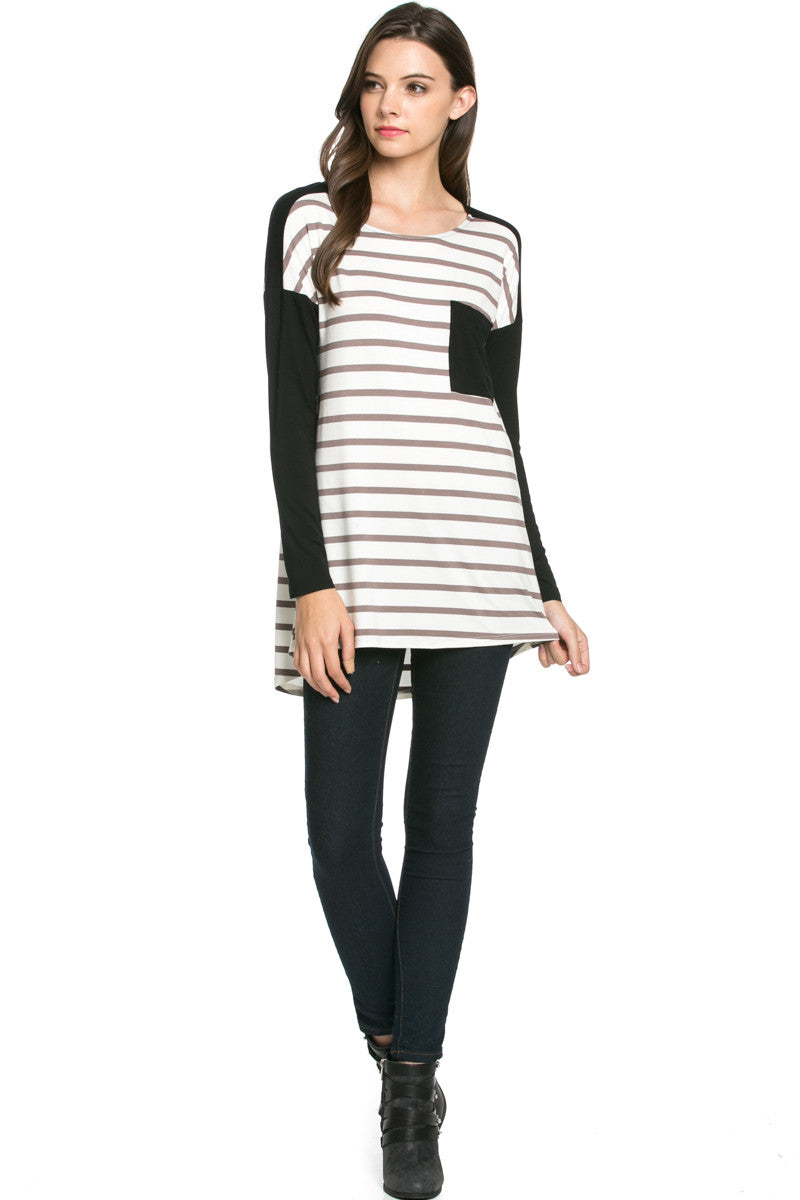 Pockets On Stripes Knit Tunic Top Coco Black - Tunic - My Yuccie - 4