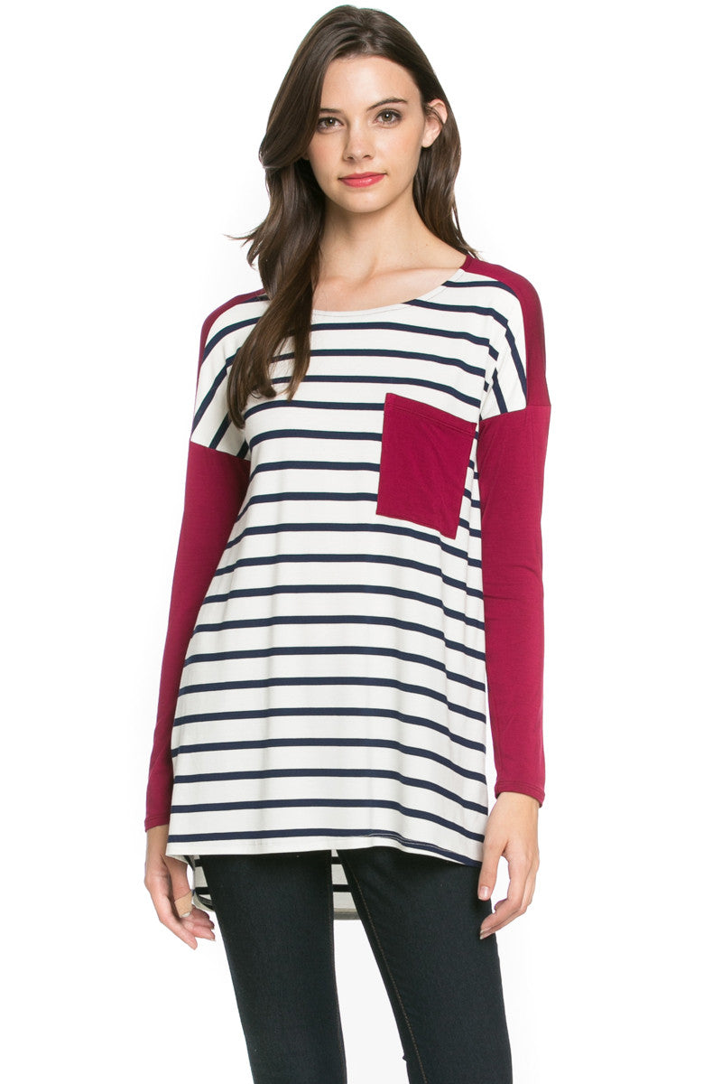 Pockets On Stripes Knit Tunic Top Navy Wine - Tunic - My Yuccie - 1