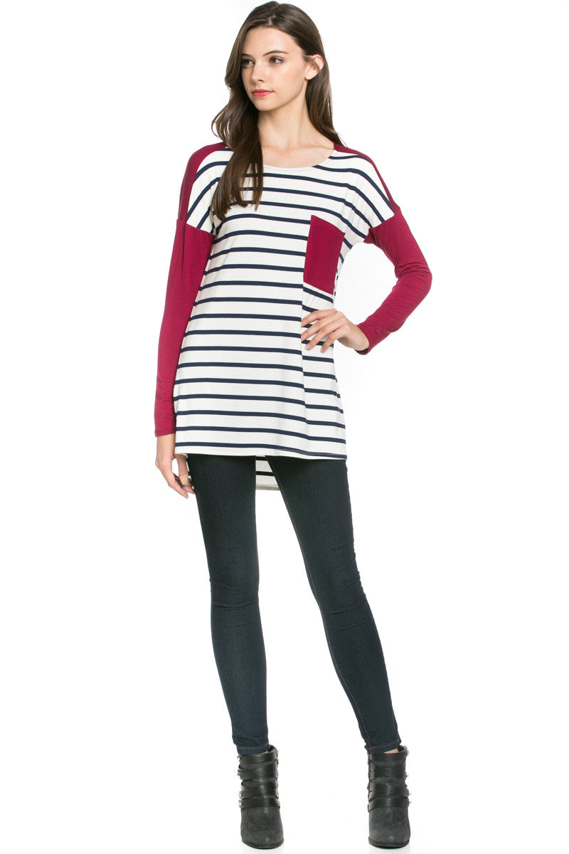 Pockets On Stripes Knit Tunic Top Navy Wine - Tunic - My Yuccie - 4
