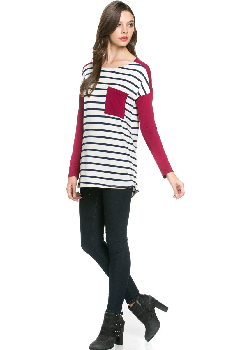 Pockets On Stripes Knit Tunic Top Navy Wine - Tunic - My Yuccie - 2