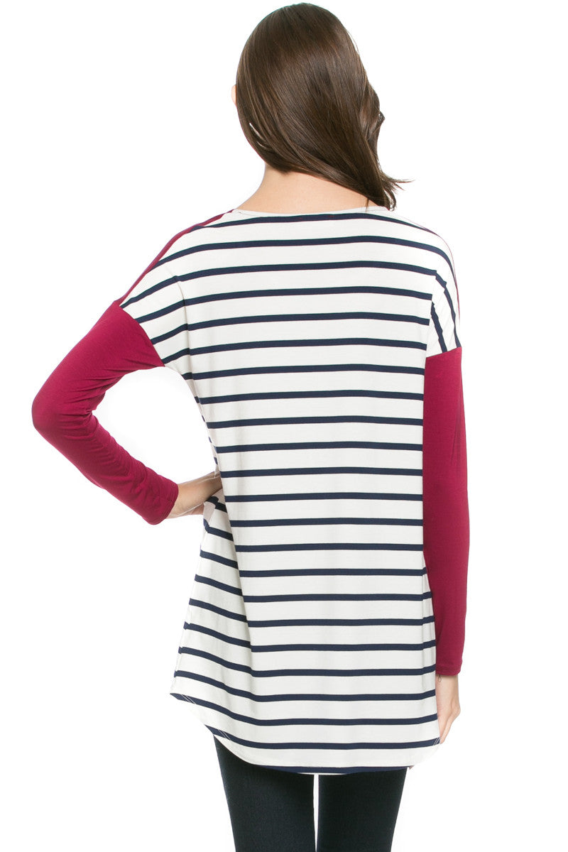 Pockets On Stripes Knit Tunic Top Navy Wine - Tunic - My Yuccie - 3