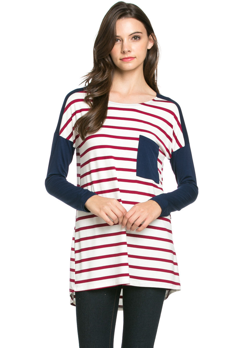 Pockets On Stripes Wine Navy - Tunic - My Yuccie - 1