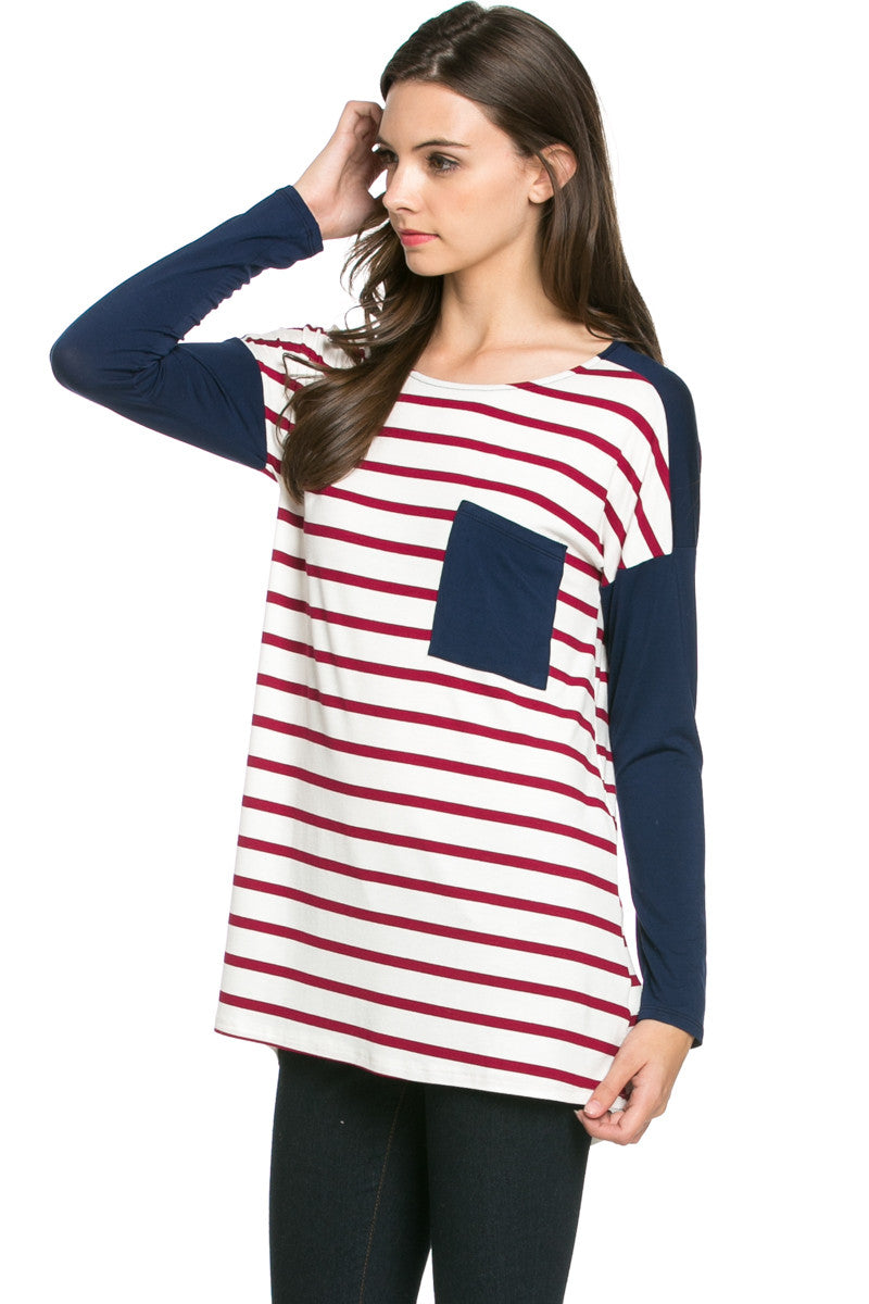 Pockets On Stripes Wine Navy - Tunic - My Yuccie - 2