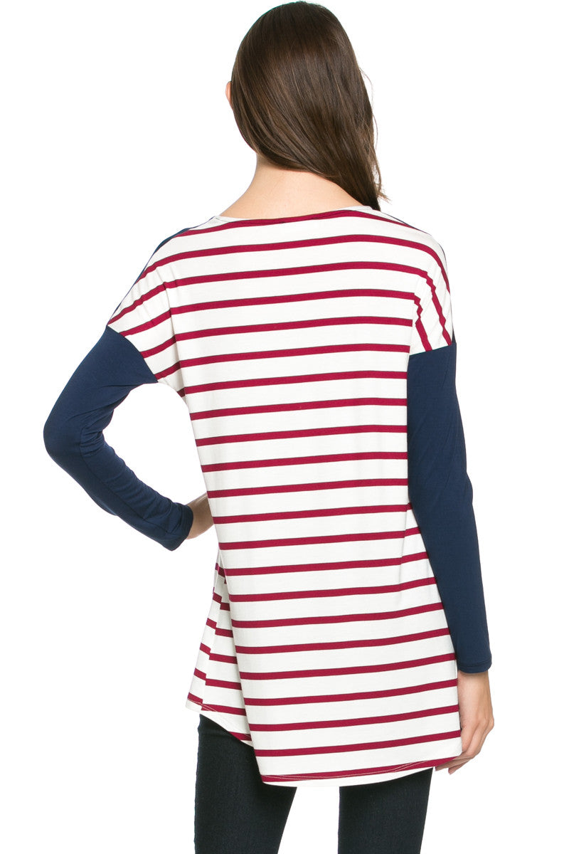 Pockets On Stripes Wine Navy - Tunic - My Yuccie - 3