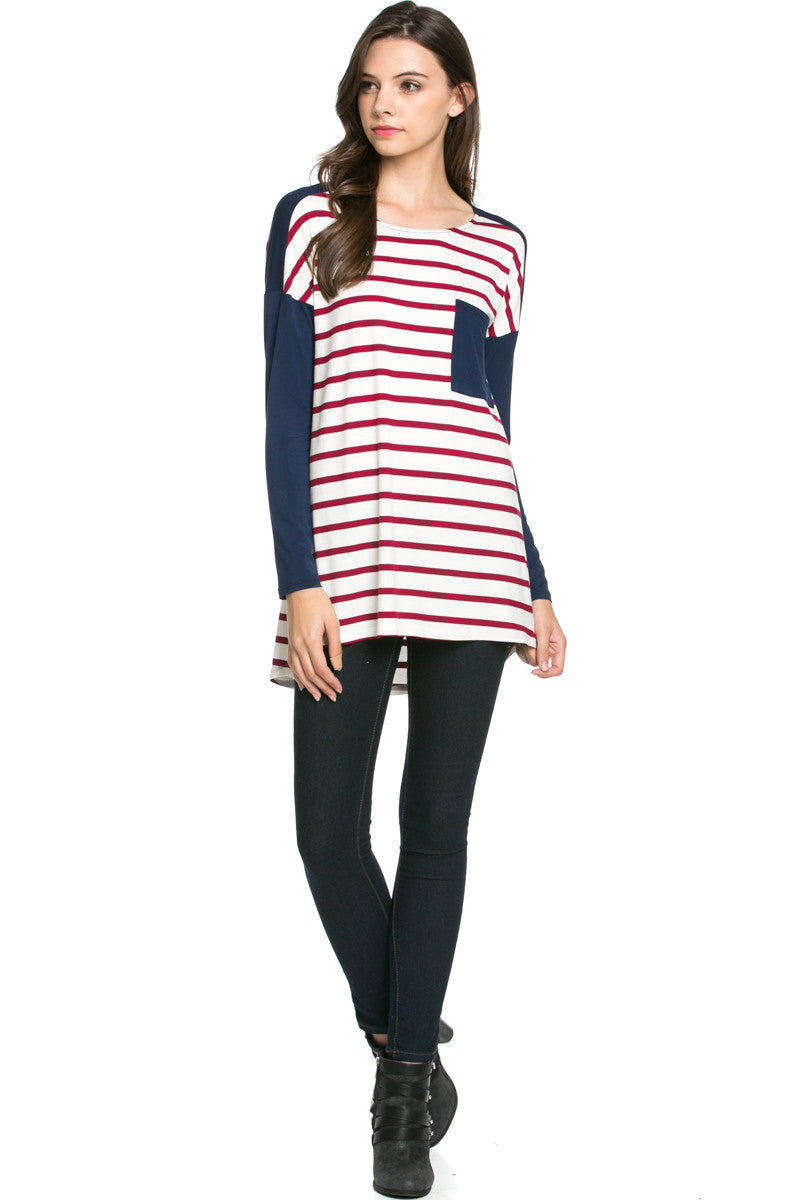 Pockets On Stripes Wine Navy - Tunic - My Yuccie - 4