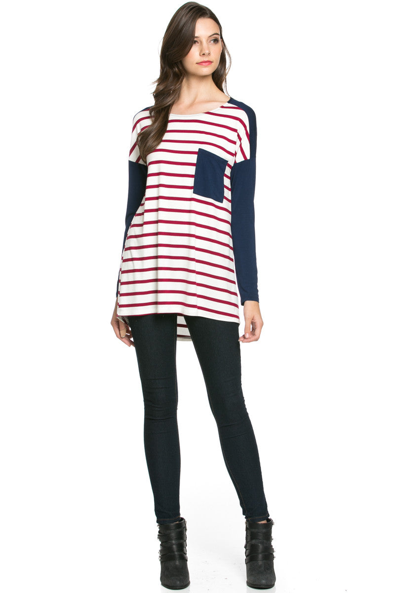Pockets On Stripes Wine Navy - Tunic - My Yuccie - 5