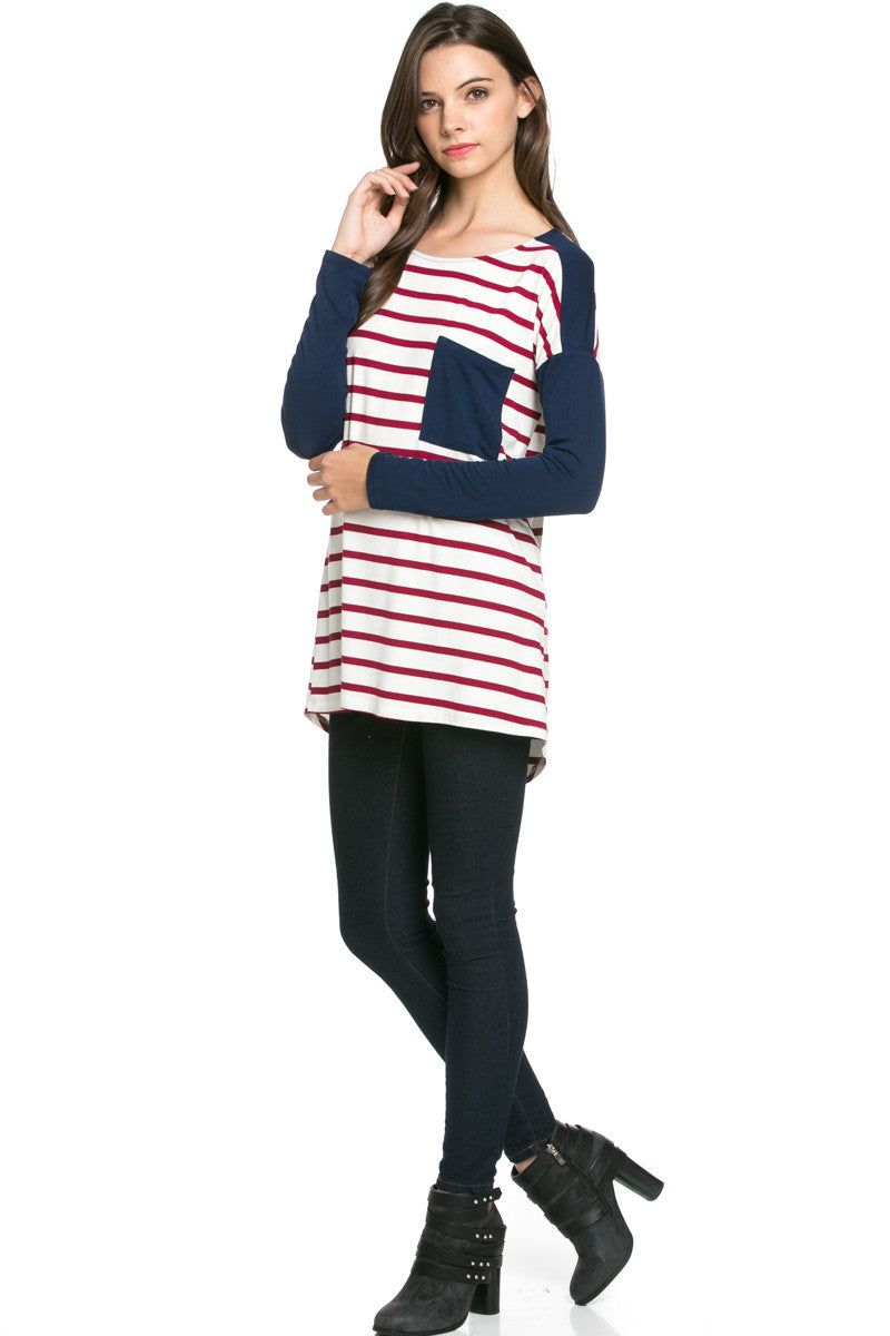Pockets On Stripes Wine Navy - Tunic - My Yuccie - 6