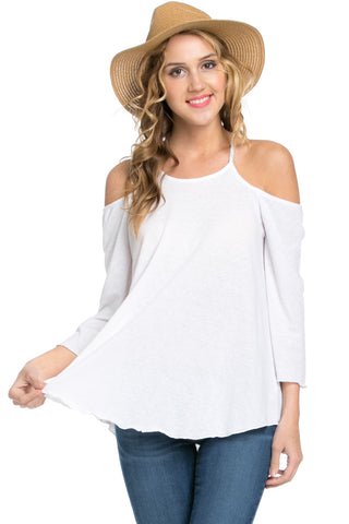 Simple Criss Cross Back Cold Shoulder Top White - Tops - My Yuccie