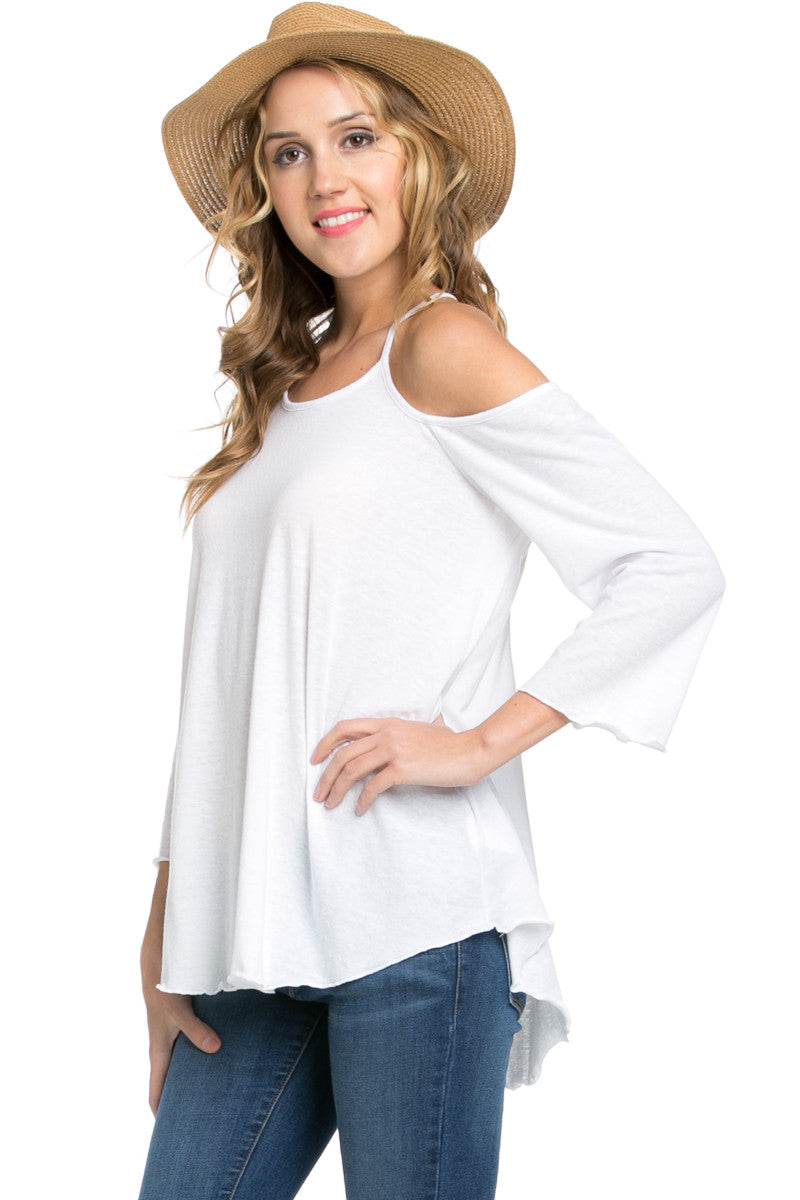 Simple Criss Cross Back Cold Shoulder Top White - Tops - My Yuccie - 2