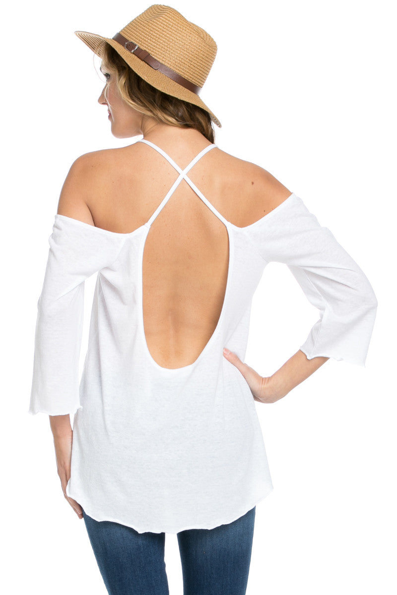 Simple Criss Cross Back Cold Shoulder Top White - Tops - My Yuccie - 3