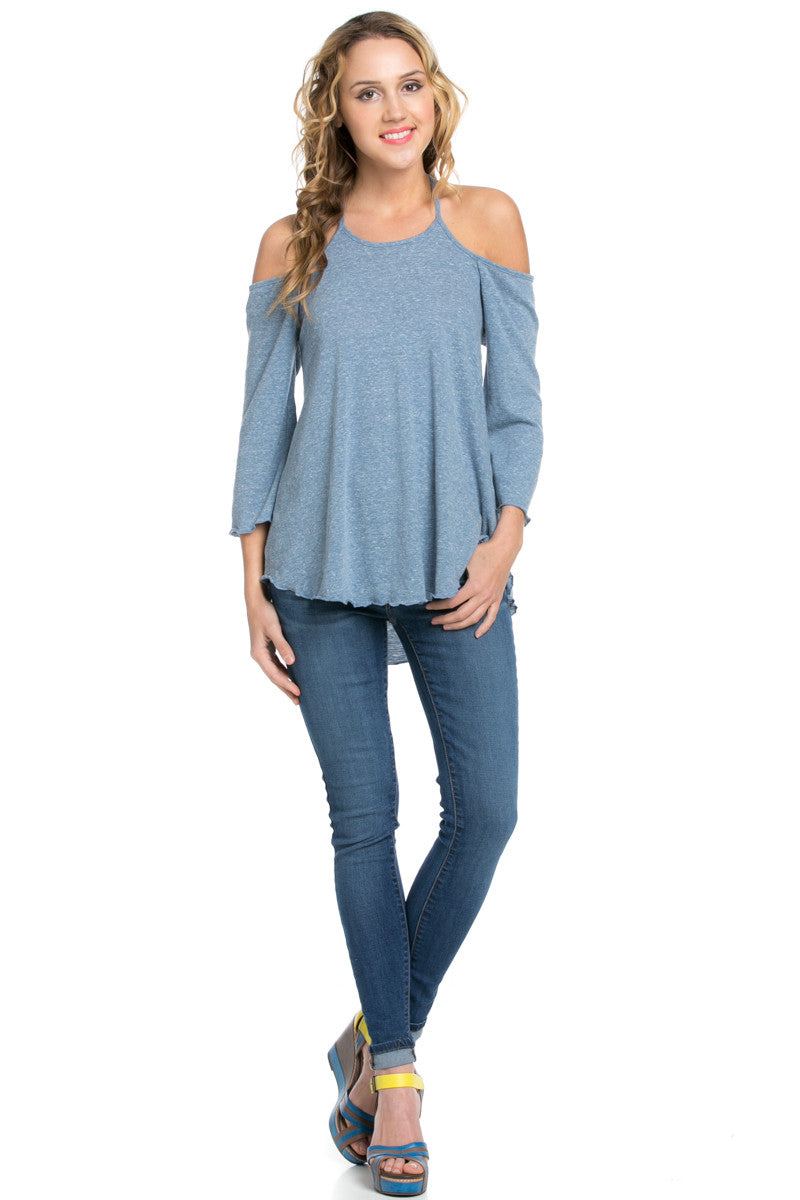 Simple Criss Cross Back Cold Shoulder Top Blue - Tops - My Yuccie - 2