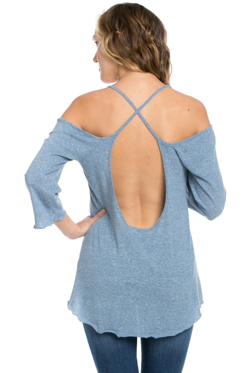 Simple Criss Cross Back Cold Shoulder Top Blue - Tops - My Yuccie - 3