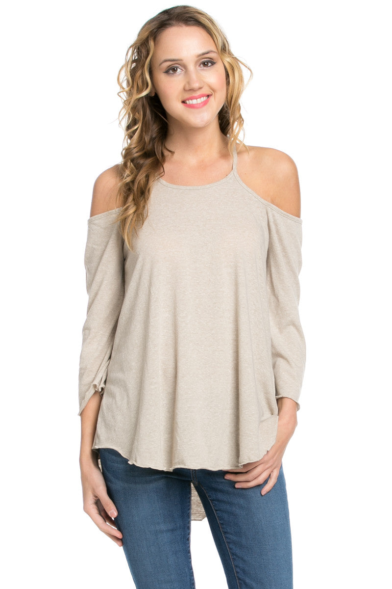 Simple Criss Cross Back Cold Shoulder Top Sand - Tops - My Yuccie - 2