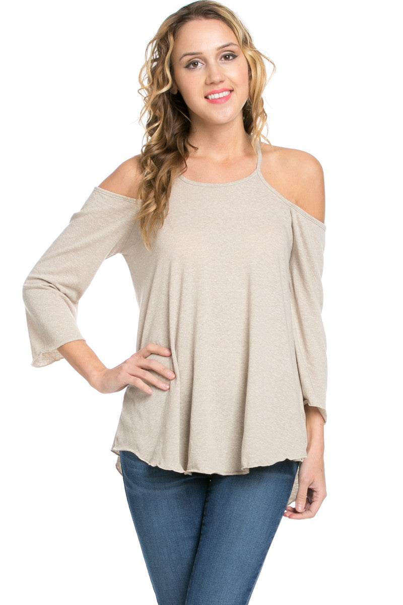Simple Criss Cross Back Cold Shoulder Top Sand - Tops - My Yuccie - 1