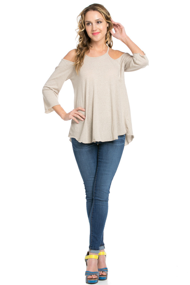 Simple Criss Cross Back Cold Shoulder Top Sand - Tops - My Yuccie - 3