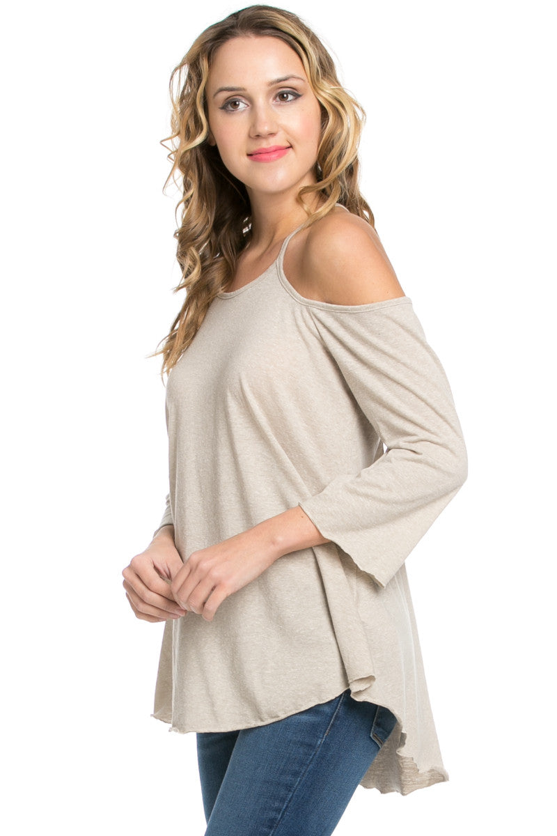 Simple Criss Cross Back Cold Shoulder Top Sand - Tops - My Yuccie - 4