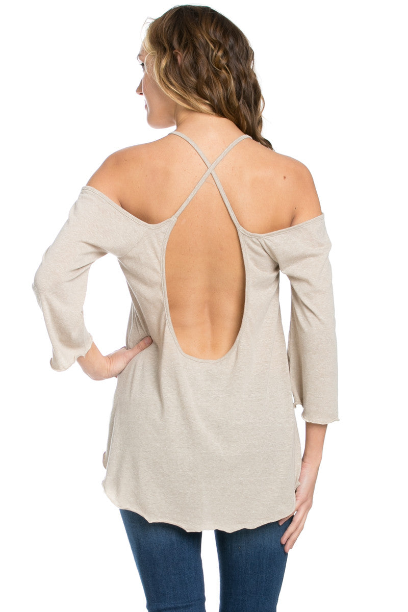 Simple Criss Cross Back Cold Shoulder Top Sand - Tops - My Yuccie - 5