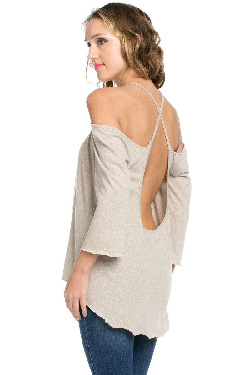 Simple Criss Cross Back Cold Shoulder Top Sand - Tops - My Yuccie - 6