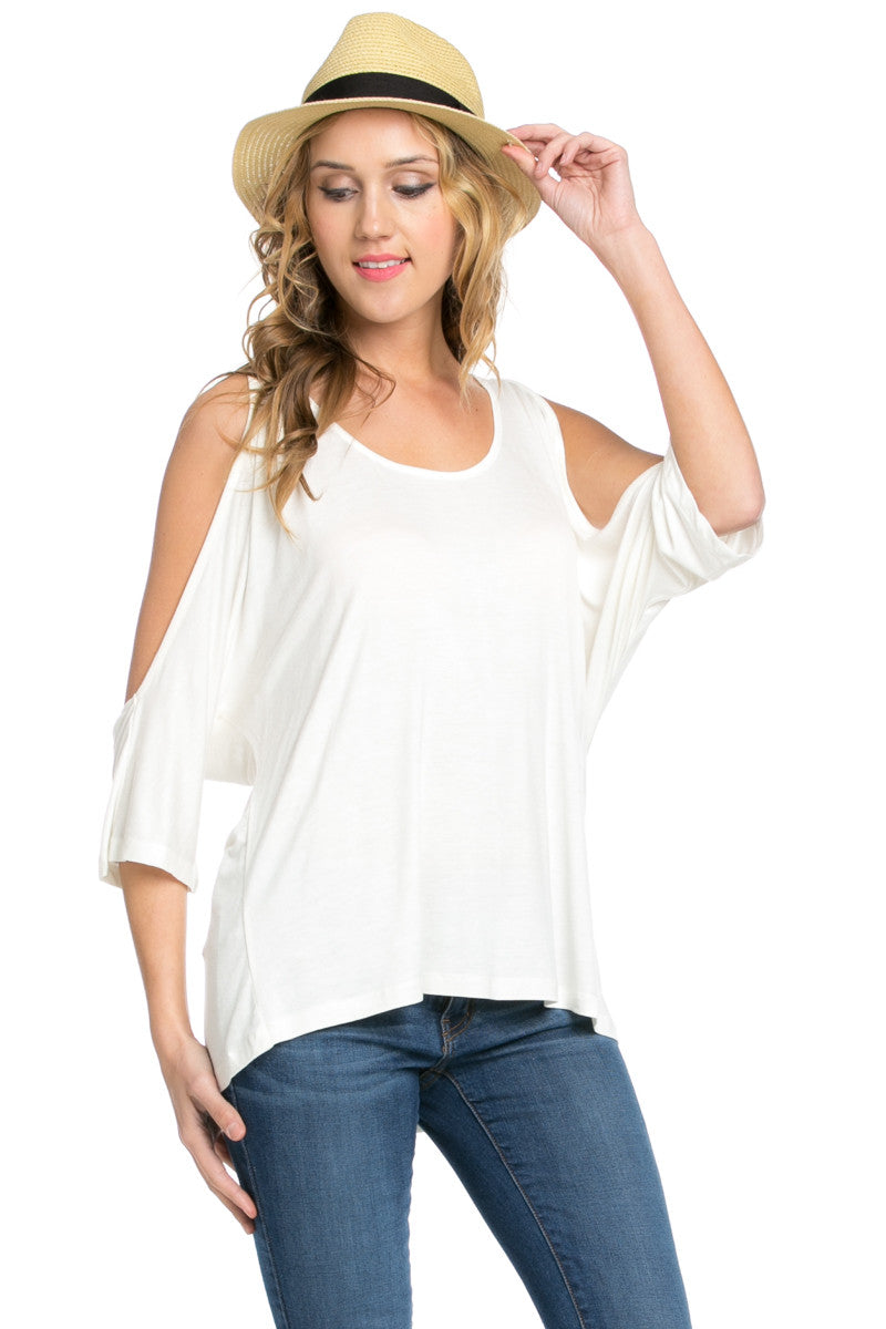 Classic Cold Shoulder Top White - Tops - My Yuccie - 5