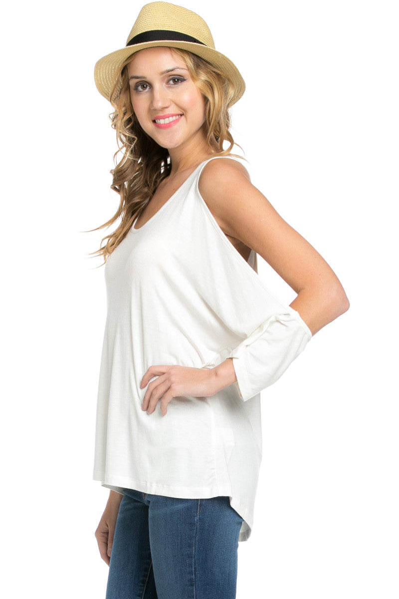 Classic Cold Shoulder Top White - Tops - My Yuccie - 6