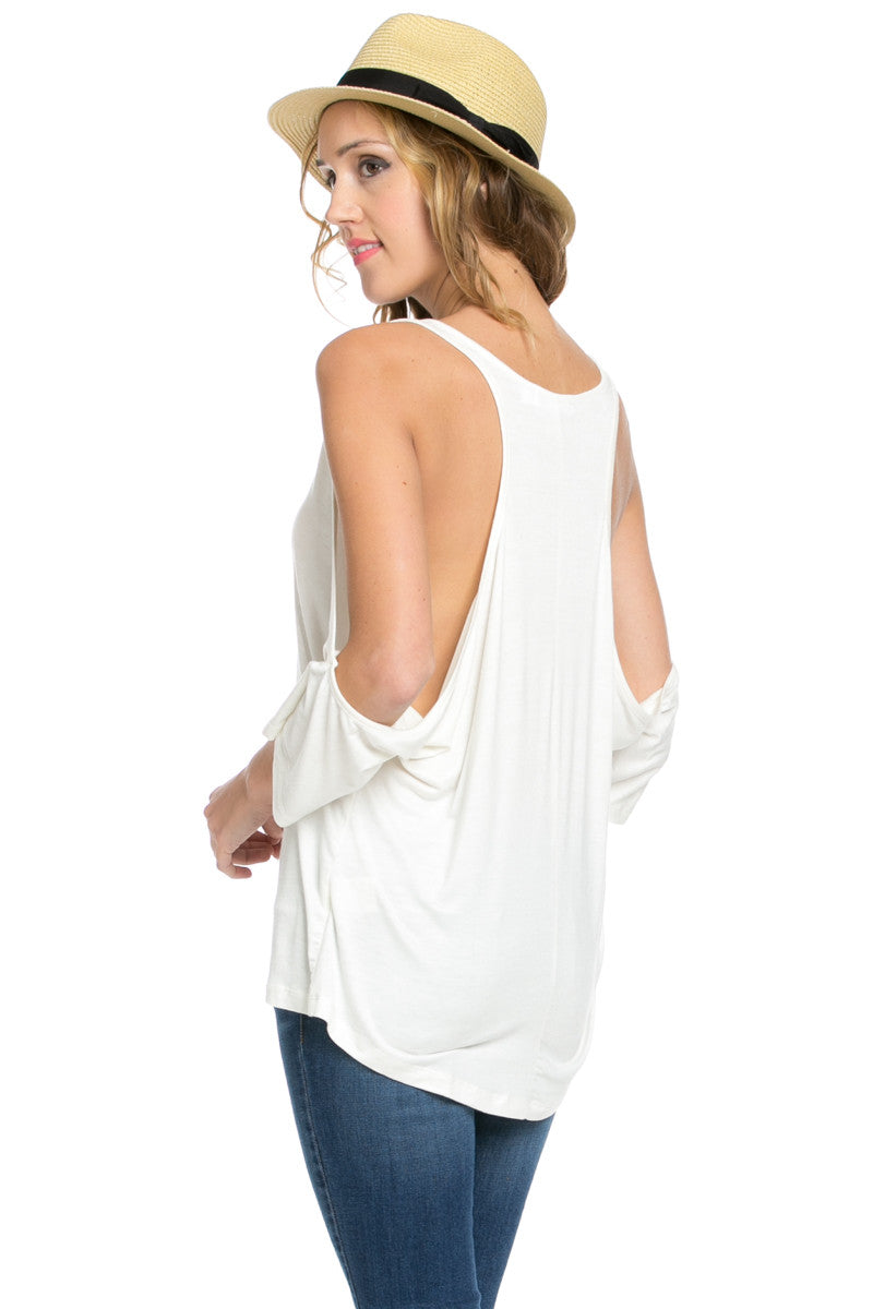Classic Cold Shoulder Top White - Tops - My Yuccie - 7