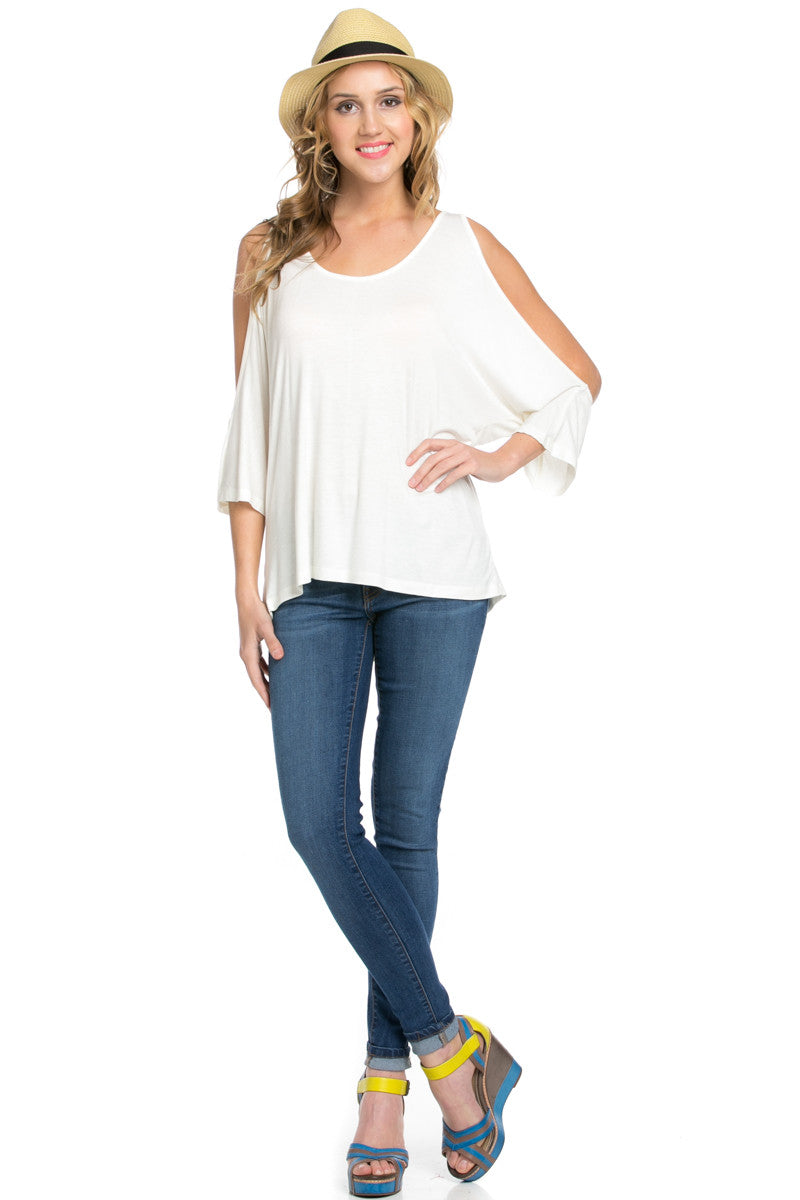 Classic Cold Shoulder Top White - Tops - My Yuccie - 9