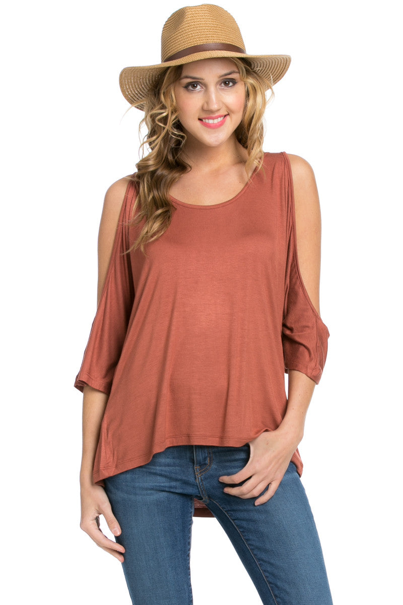 Classic Cold Shoulder Top Rust - Tops - My Yuccie - 7