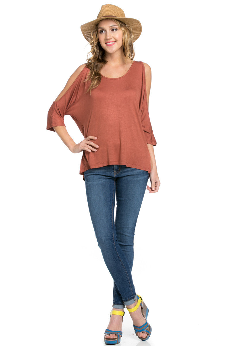 Classic Cold Shoulder Top Rust - Tops - My Yuccie - 10