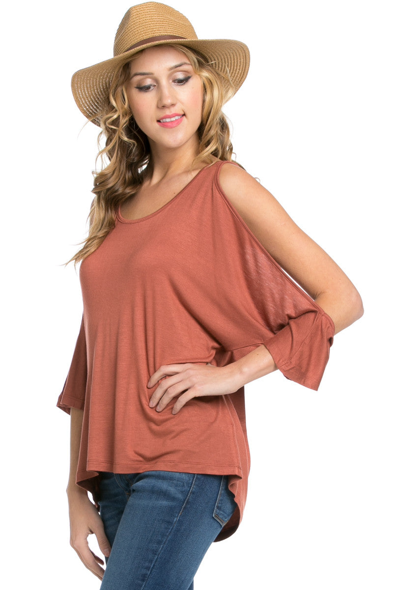 Classic Cold Shoulder Top Rust - Tops - My Yuccie - 6