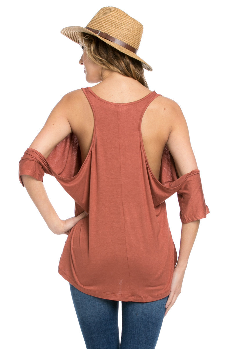 Classic Cold Shoulder Top Rust - Tops - My Yuccie - 9