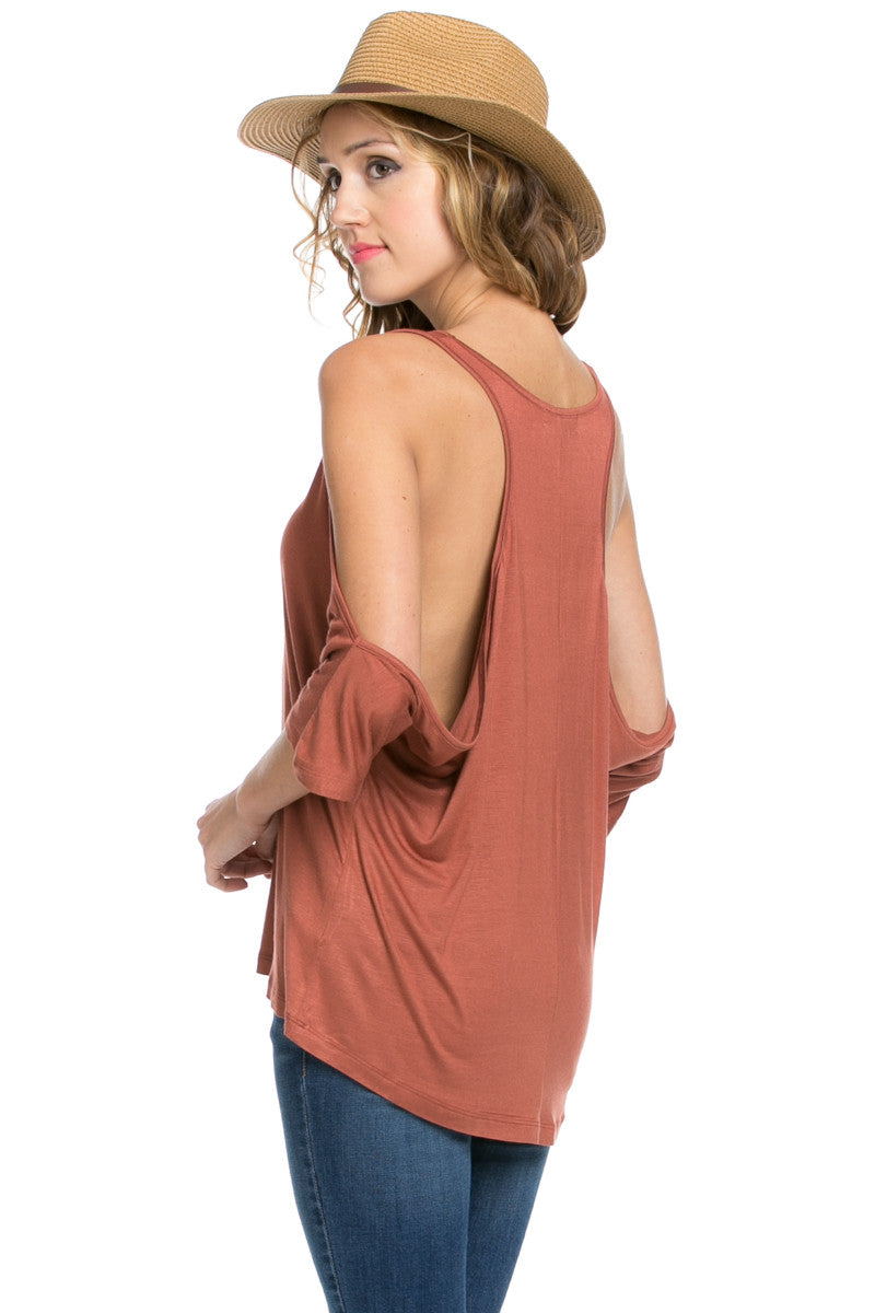 Classic Cold Shoulder Top Rust - Tops - My Yuccie - 8