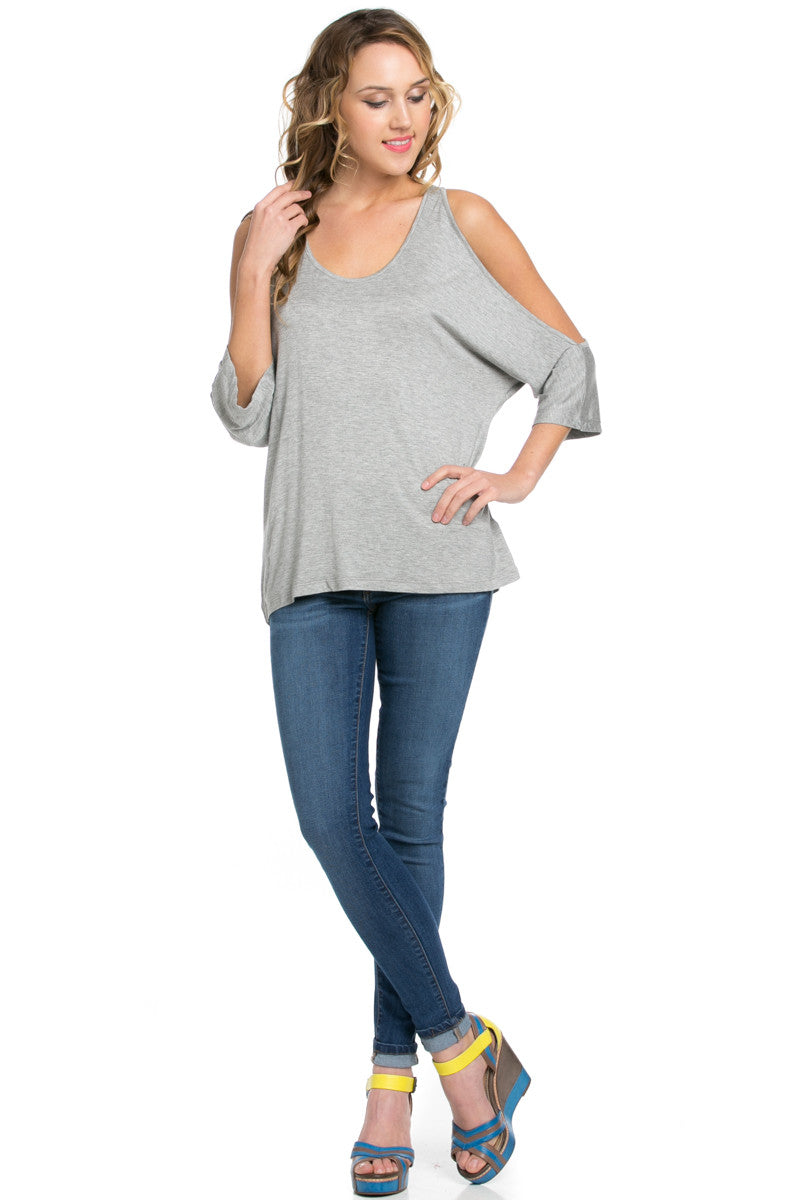 Classic Cold Shoulder Top Heather Grey - Tops - My Yuccie - 11