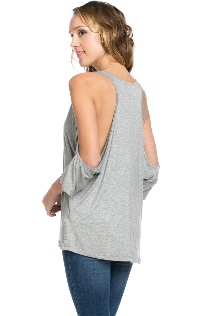 Classic Cold Shoulder Top Heather Grey - Tops - My Yuccie - 9