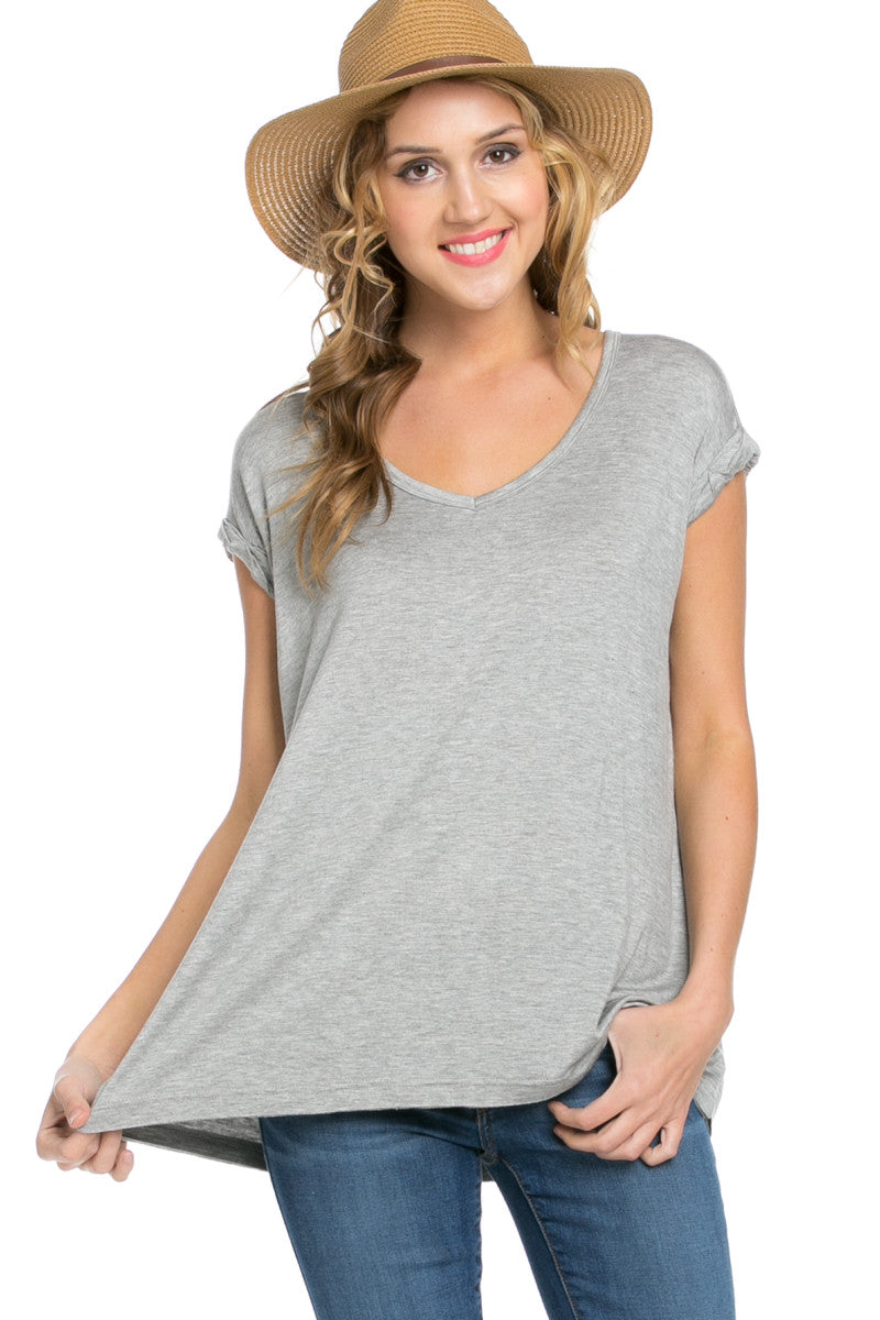 Simple Rolled Sleeve Top Heather Grey - Tops - My Yuccie - 1