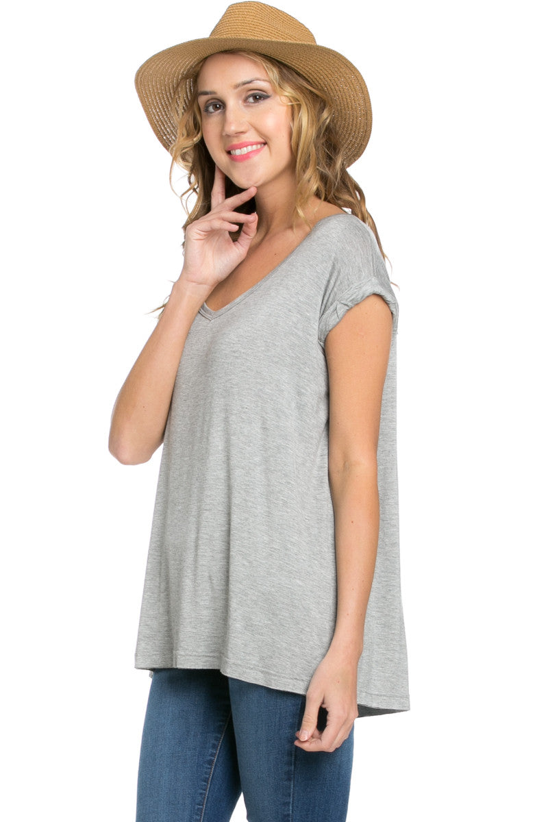Simple Rolled Sleeve Top Heather Grey - Tops - My Yuccie - 2