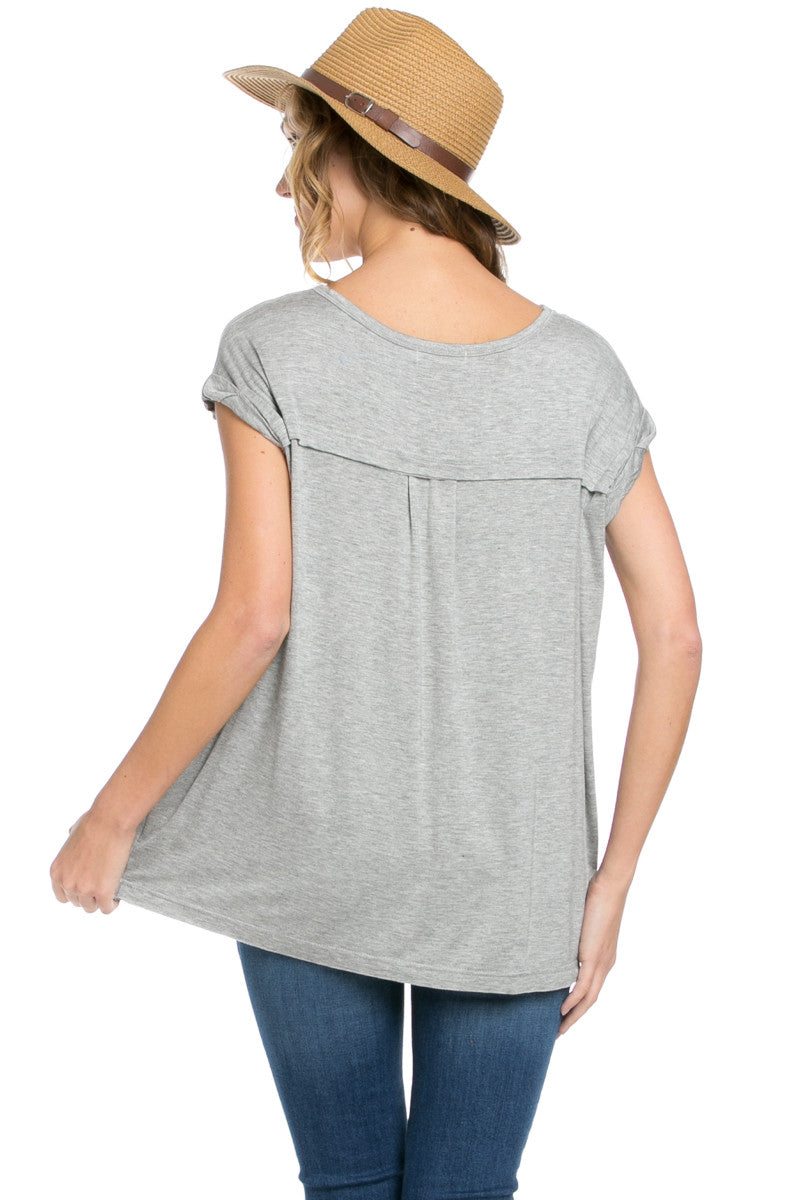 Simple Rolled Sleeve Top Heather Grey - Tops - My Yuccie - 4