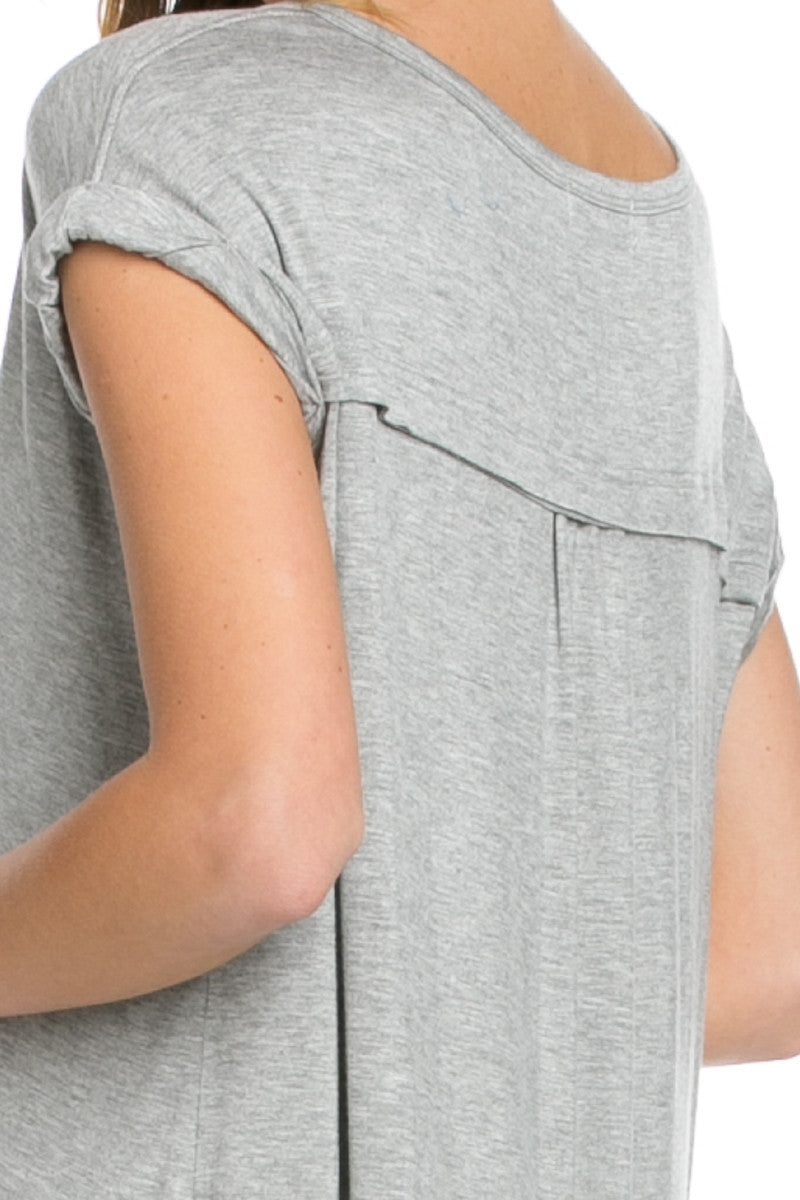 Simple Rolled Sleeve Top Heather Grey - Tops - My Yuccie - 5