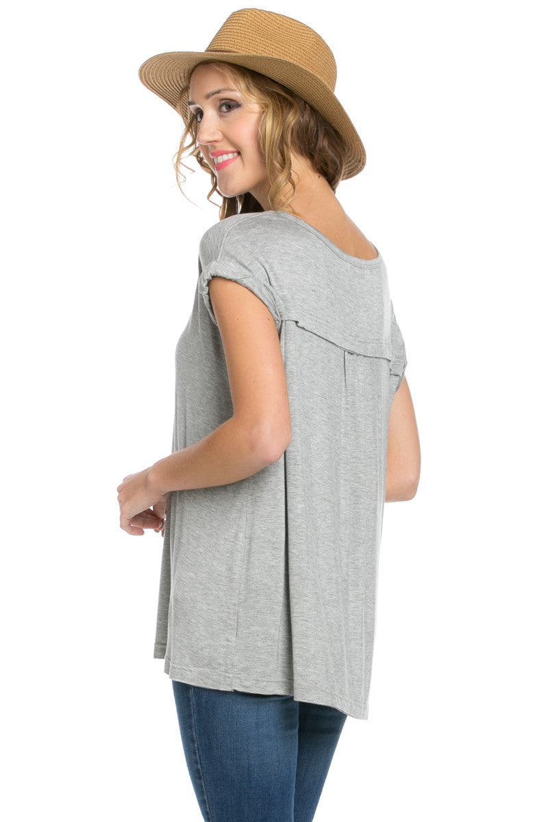 Simple Rolled Sleeve Top Heather Grey - Tops - My Yuccie - 3