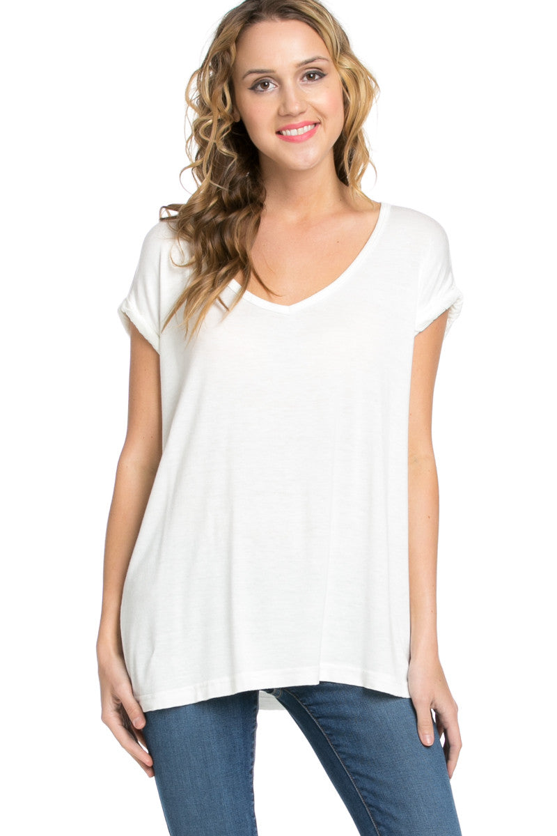 Simple Rolled Sleeve Top White - Tops - My Yuccie - 1